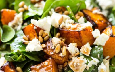 Roasted Sweet Potato, Spinach and Feta Salad