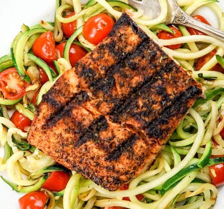 Blackened Salmon with Garlic Zucchini Noodles